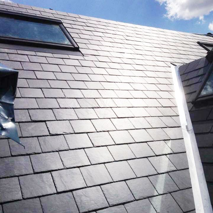 Slate roof with skylight